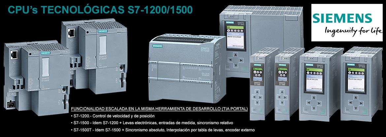 PLC industriales Siemens, S7-1200 y S7-1500
